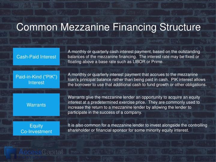 Common Mezzanine Financing Structure