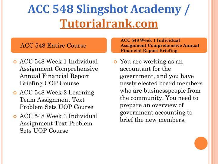 ACC 548 Slingshot Academy /