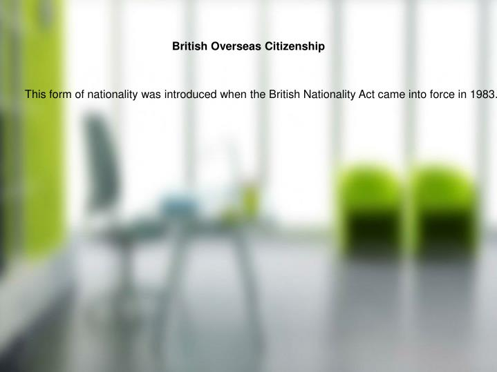 British Overseas Citizenship