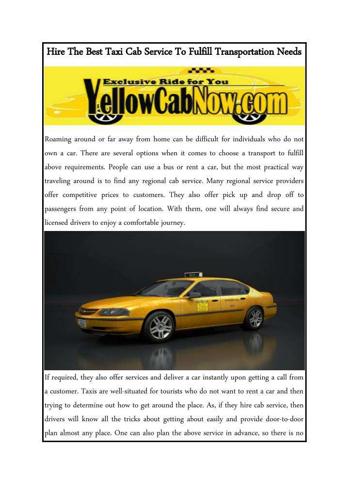 Hire The Best Taxi Cab Service To Fulfill Transportation Needs