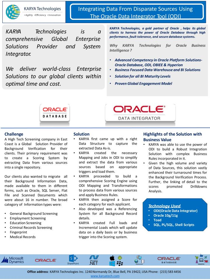Integrating data from disparate sources using the oracle data integrator tool odi karya technologies case studies