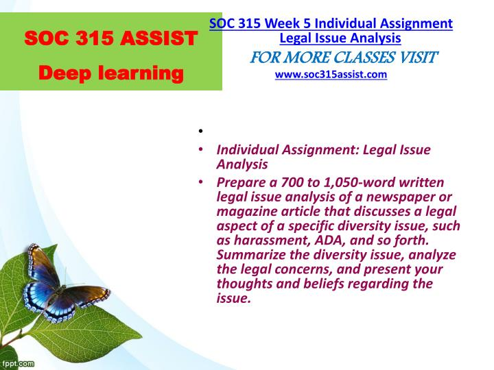 soc 315 week 3 learning team Soc 315 week 5 learning team assignment outline of diversity action plan powerpoint presentation $1000 soc 315 week 3 individual assignment intercultural communication in the workplace paper.