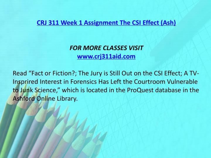 CRJ 311 Week 1 Assignment The CSI Effect (Ash)
