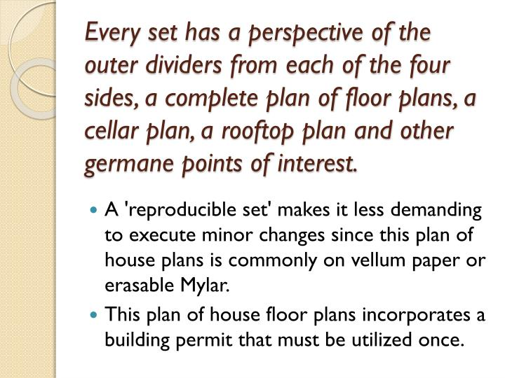 Every set has a perspective of the outer dividers from each of the four sides, a complete plan of floor plans, a cellar plan, a rooftop plan and other germane points of interest.