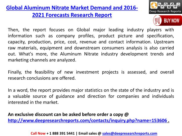 Global Aluminum Nitrate Market Demand and 2016-2021 Forecasts Research Report