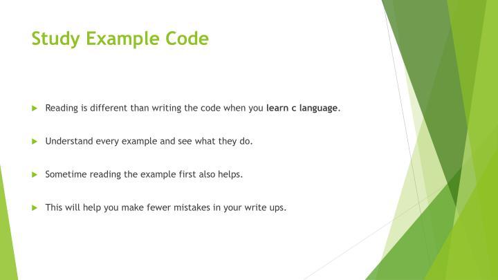 Study Example Code