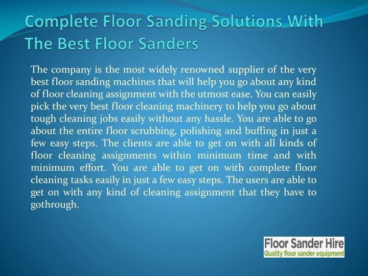 Complete Floor Sanding Solutions With The Best FloorSanders