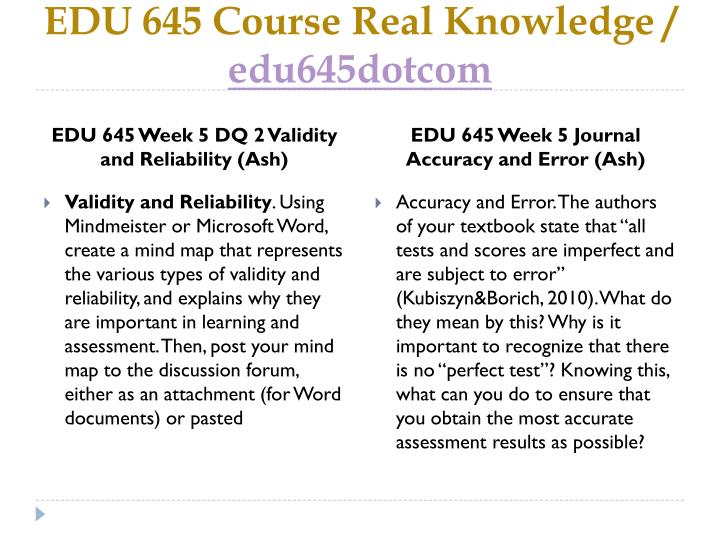 EDU 645 Course Real Knowledge /