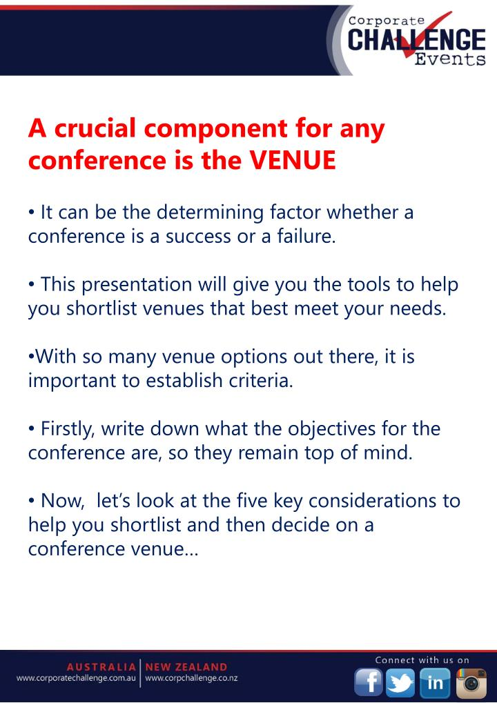 A crucial component for any conference is the VENUE