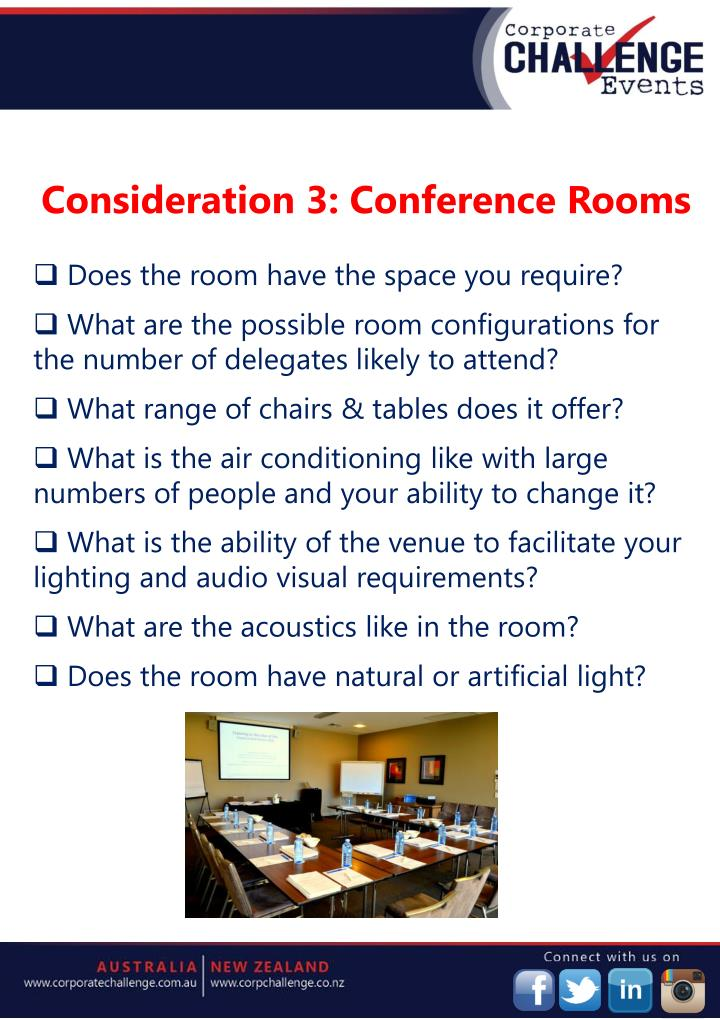 Consideration 3: Conference Rooms