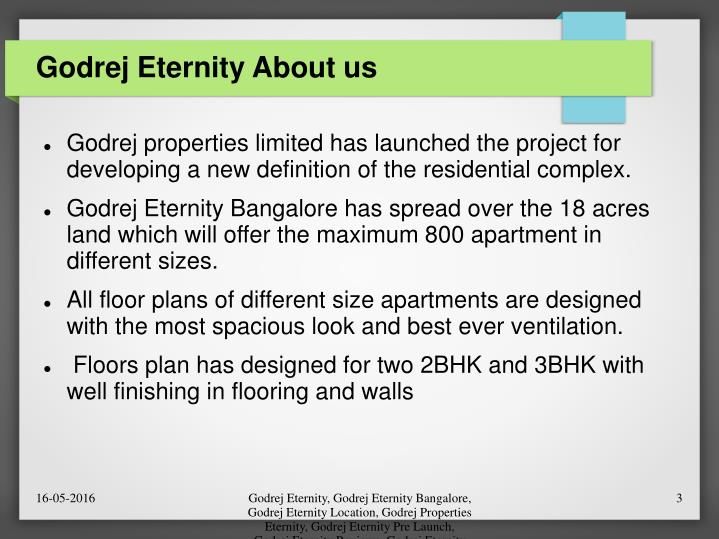 Godrej eternity about us