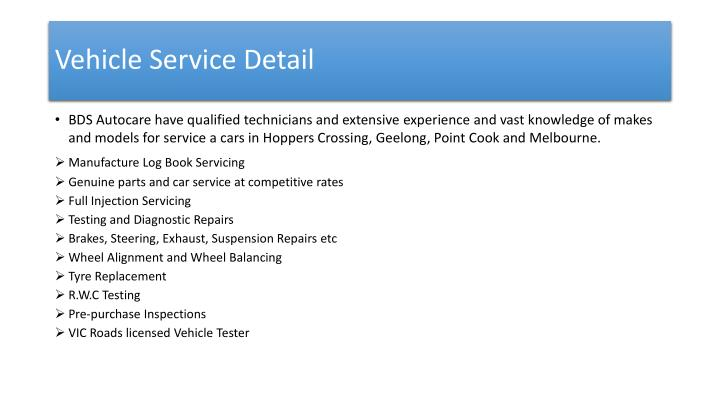 Vehicle Service Detail