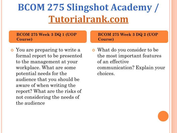 BCOM 275 Slingshot Academy /