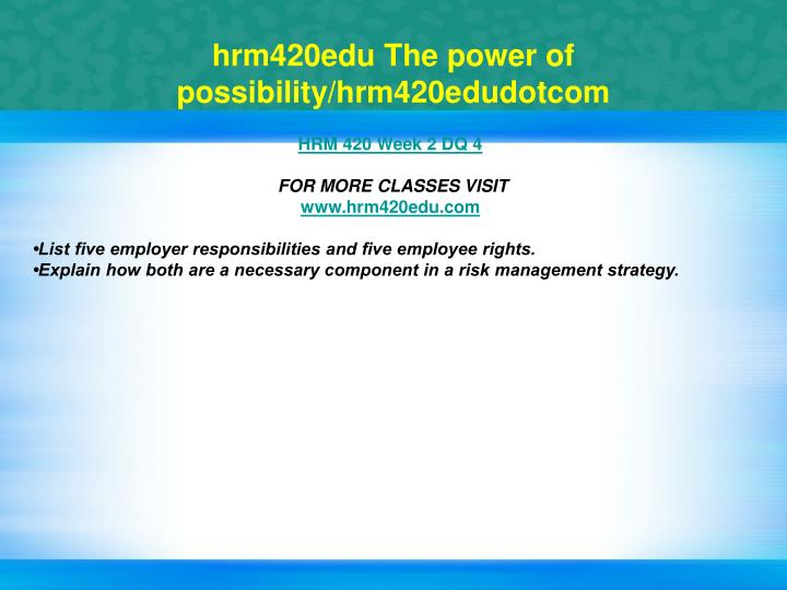 hrm420edu The power of possibility/hrm420edudotcom