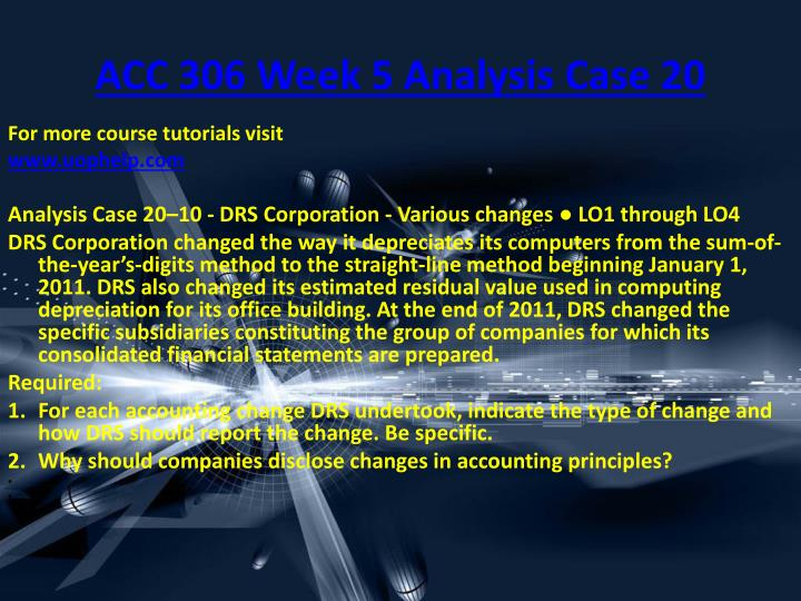 ACC 306 Week 5 Analysis Case 20