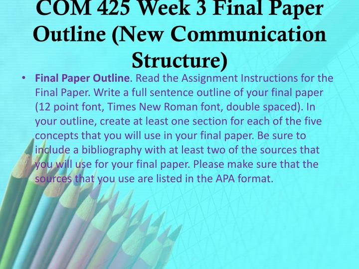 COM 425 Week 3 Final Paper Outline (New Communication Structure)
