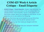 com 425 week 4 article critique email etiquette