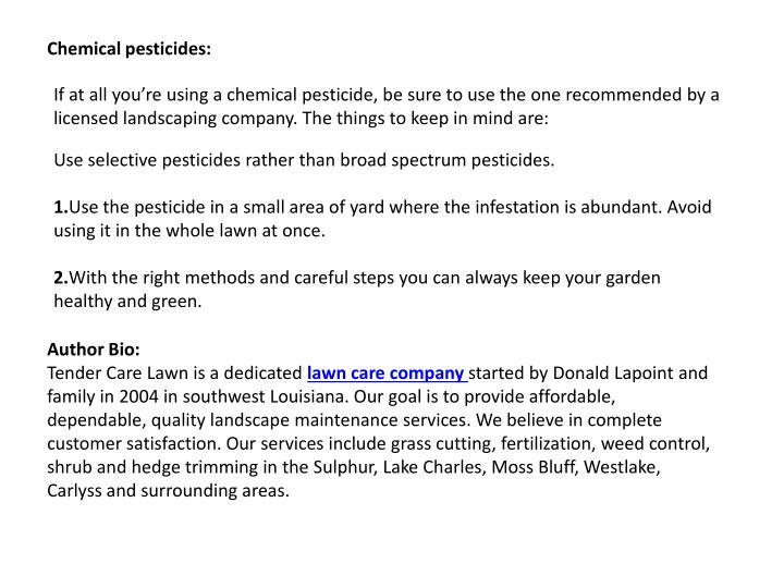 Chemical pesticides: