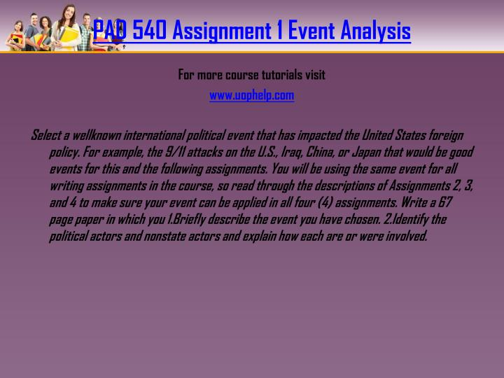 Pad 540 assignment 1 event analysis