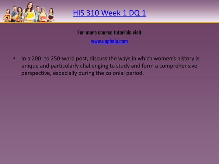 HIS 310 Week 1 DQ