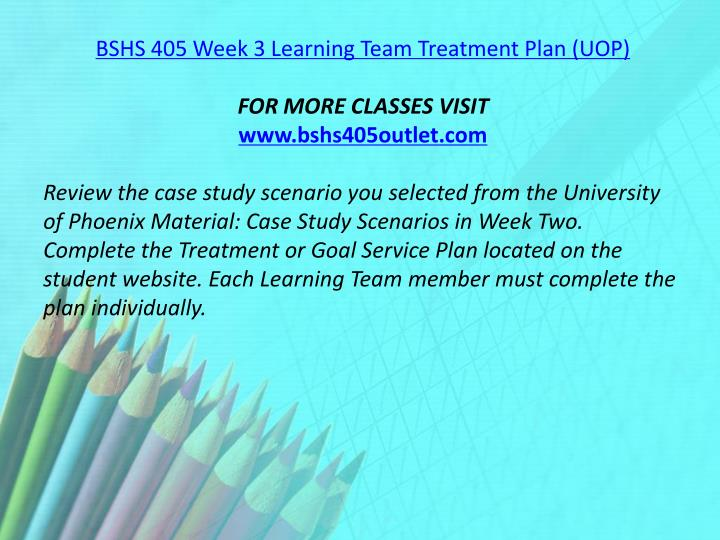 BSHS 405 Week 3 Learning Team Treatment Plan (UOP