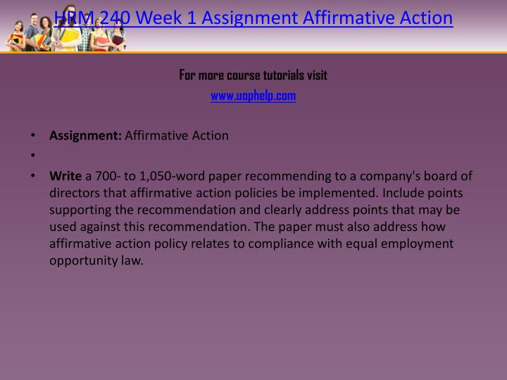 HRM 240 Week 1 Assignment Affirmative Action