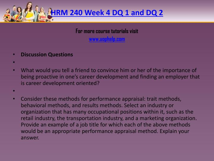HRM 240 Week 4 DQ 1 and DQ