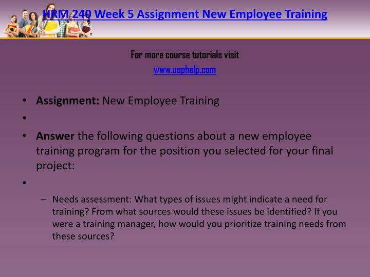 HRM 240 Week 5 Assignment New Employee Training