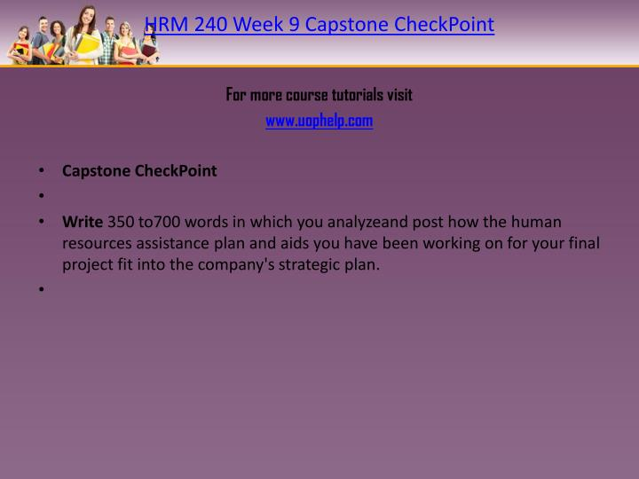 HRM 240 Week 9 Capstone