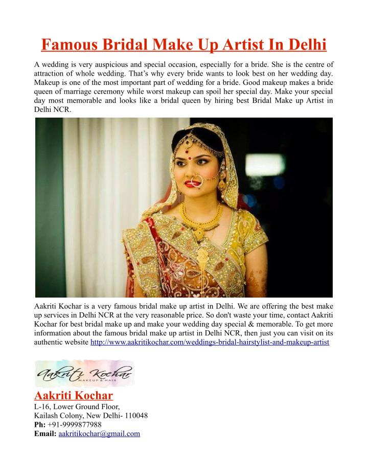 Famous Bridal Make Up Artist In Delhi
