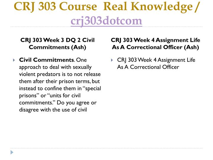 CRJ 303 Course  Real Knowledge /