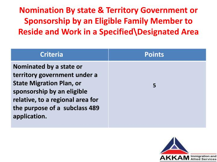 Nomination By state & Territory Government or Sponsorship by an Eligible Family Member to Reside and Work in a Specified\Designated Area