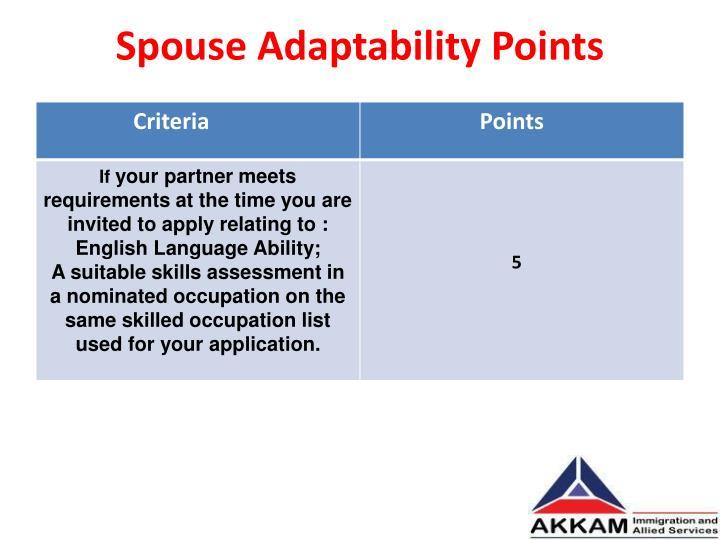 Spouse Adaptability Points