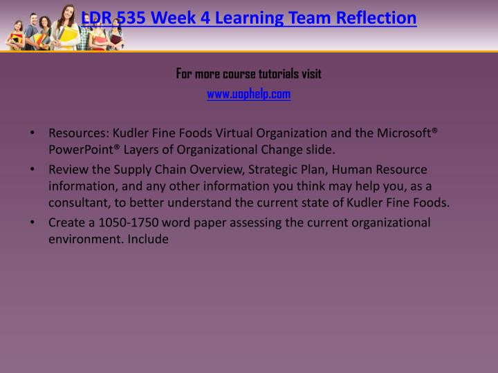 LDR 535 Week 4 Learning Team Reflection