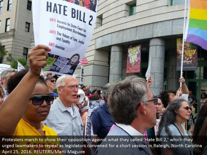 Protesters walk to demonstrate their restriction against what they called 'Abhor Bill 2,' which they encouraged officials to nullify as lawmakers met for a short session in Raleigh, North Carolina April 25, 2016. REUTERS/Marti Maguire
