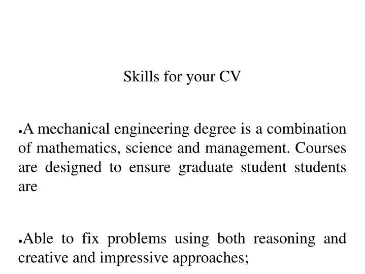 Skills for your CV