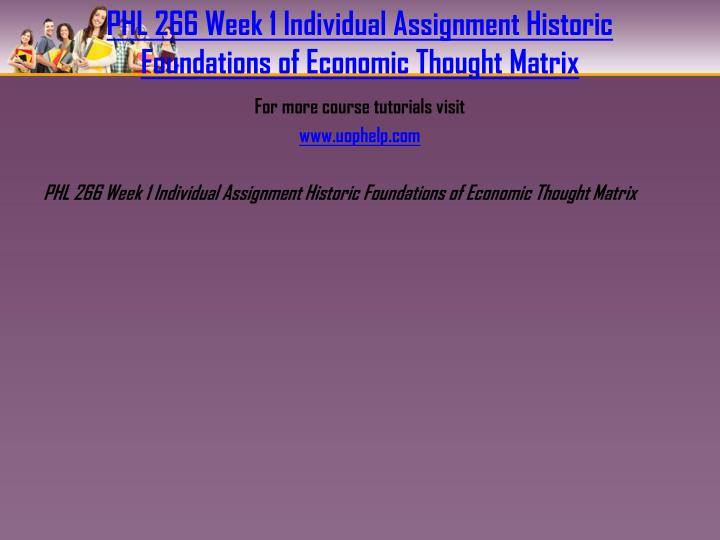 PHL 266 Week 1 Individual Assignment Historic Foundations of Economic Thought Matrix