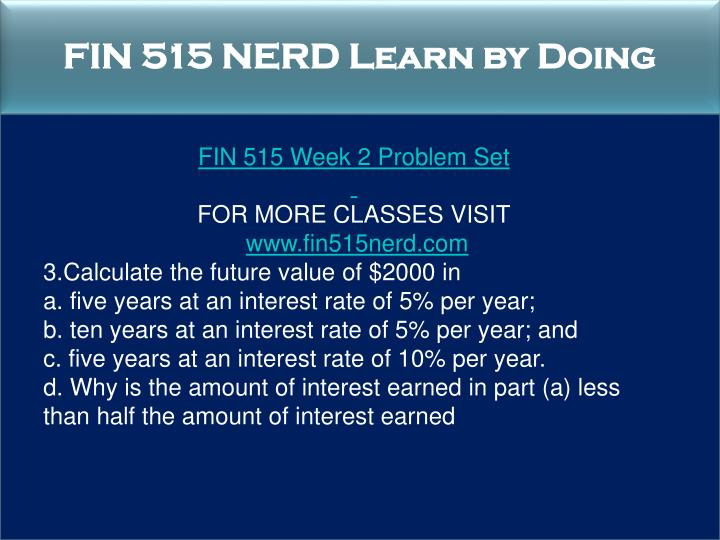 FIN 515 NERD Learn by Doing