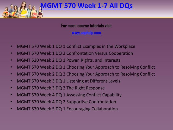 MGMT 570 Week 1-7 All DQs