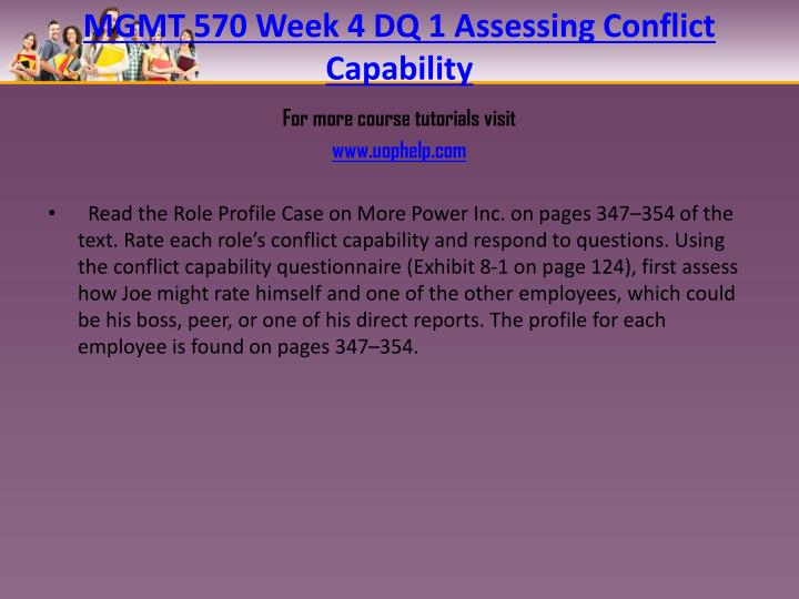 MGMT 570 Week 4 DQ 1 Assessing Conflict