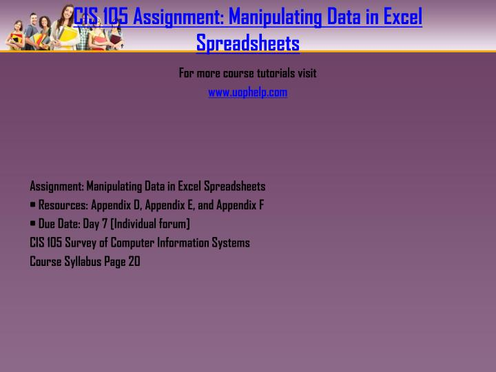 Cis 105 assignment manipulating data in excel spreadsheets