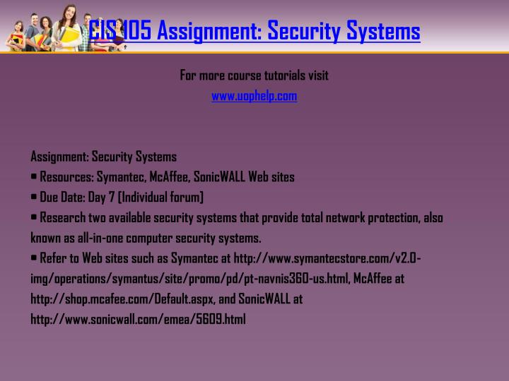CIS 105 Assignment: Security Systems