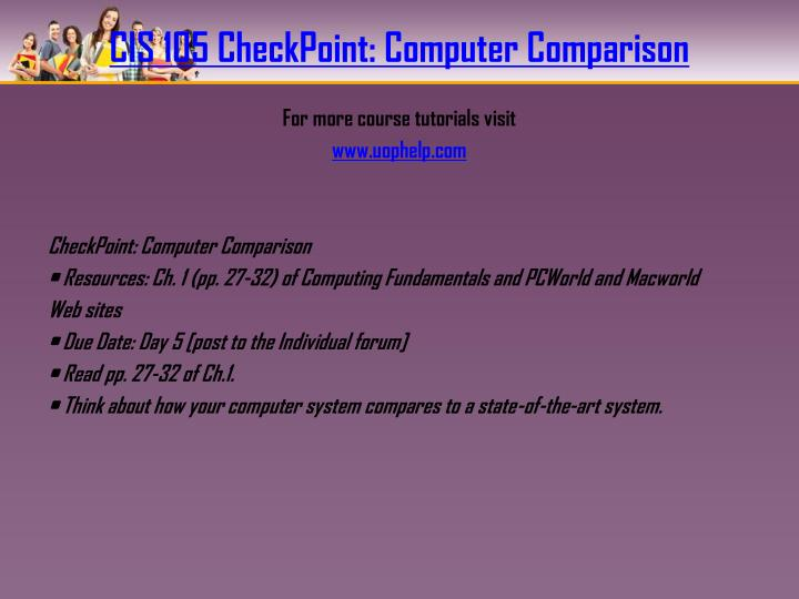 CIS 105 CheckPoint: Computer Comparison