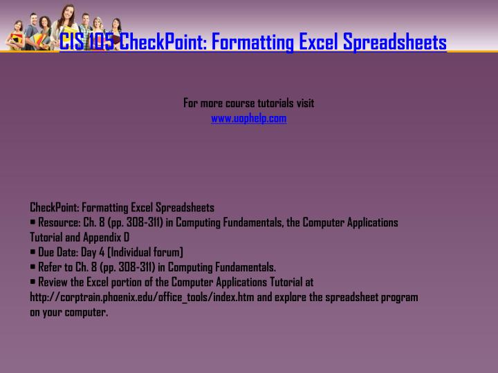CIS 105 CheckPoint: Formatting Excel Spreadsheets