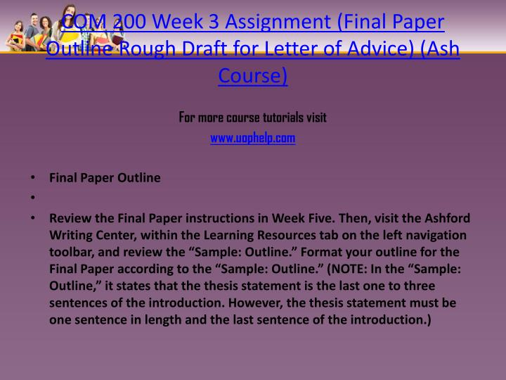 COM 200 Week 3 Assignment (Final Paper Outline Rough Draft for Letter of Advice) (Ash Course)