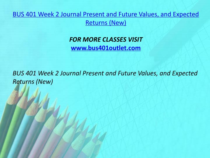 BUS 401 Week 2 Journal Present and Future Values, and Expected Returns (New