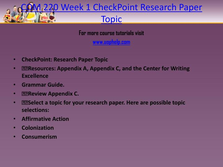 checkpoint research methods