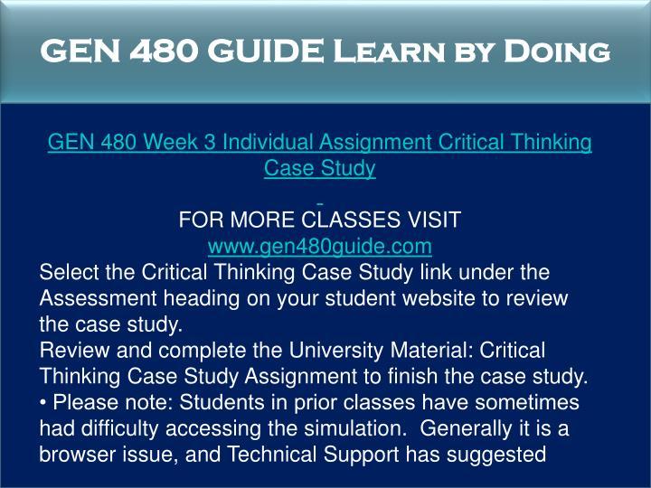 critical thinking case study gen 480