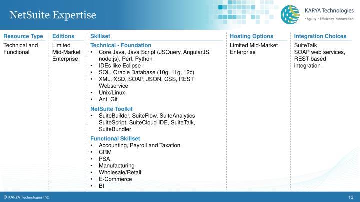 NetSuite Expertise