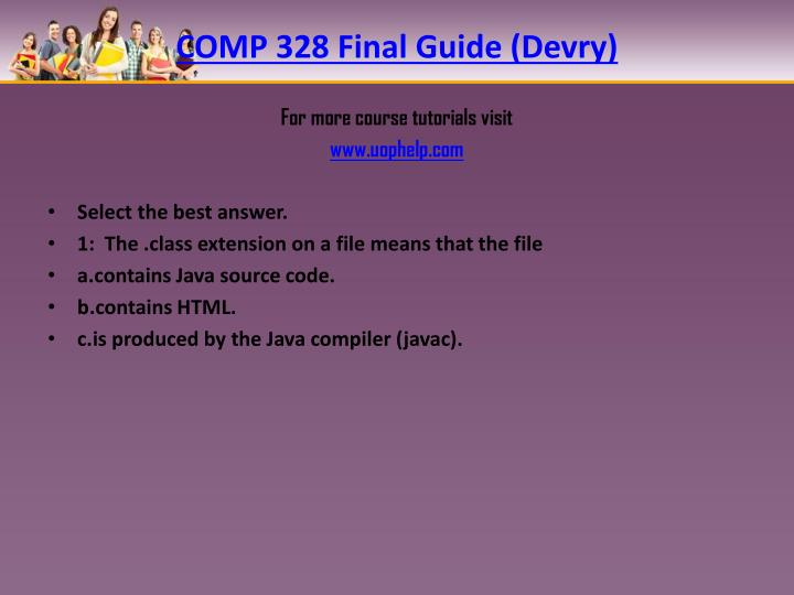 COMP 328 Final Guide (